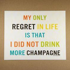 $9.95 8X10 Recycled Art Print - Modern Typography More Champagne Quote