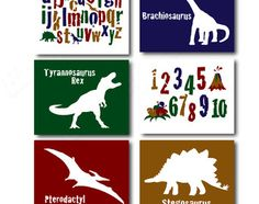Instant Download. Cute and colourful set of printable Dinosaur Silhouette Posters to suit any childs bedroom or babys nursery. A great last minute
