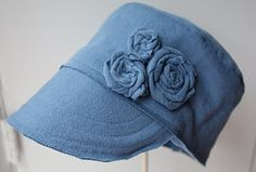 Tshirt hat tutorial. I've made a bunch of these. The measurements she gives in the tutorial is for a 4 year old. Do the measurements!