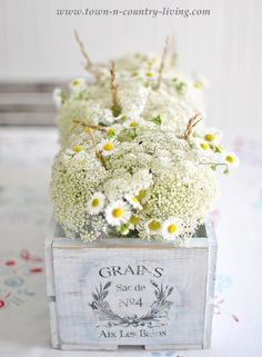 Painted French crate filled with cottage style flowers