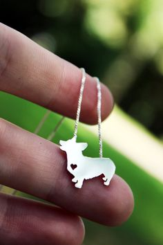 Pembroke corgi necklace sterling silver hand by justplainsimple