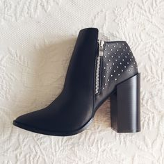 "Black heeled JustFab 'Tonlie' Bootie Black heeled JustFab 'Tonlie' bootie. Brand new! Pointed toe, side zipper, and studded detailing on the back. Heel height 4"" JustFab Shoes Ankle Boots & Booties"