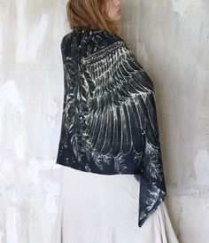 Silk/Cotton Women scarf, Hand painted Wings and feathers on blackstunning unique and useful, perfect gift