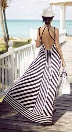 Love this Black White Stripes Backless Halterneck Maxi Beach Dress Look Fashion, Womens Fashion, Street Fashion, Dress Fashion, Beach Fashion, Fashion Sale, Cheap Fashion, Latest Fashion, Fashion Online