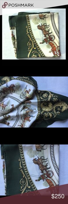 """Hermes olive green """"promenade"""" themed scarf Beautiful, used but in great condition Hermes silk scarf in olive and gold Hermes Accessories Scarves & Wraps"""