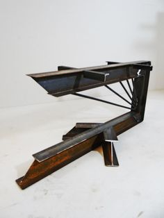 Cantilevered Steel I Beam Table Legs. By TimberForgeWoodworks