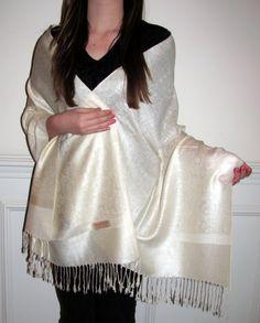 Ivory Cream Pashmina Shawl Wrap Ecstacy