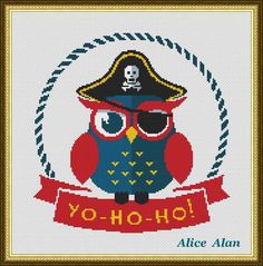 Cross Stitch Pattern Owl pirate hat (owl for children) Counted Cross Stitch Pattern / Instant Download Epattern PDF File par HallStitch sur Etsy https://www.etsy.com/fr/listing/240442118/cross-stitch-pattern-owl-pirate-hat-owl