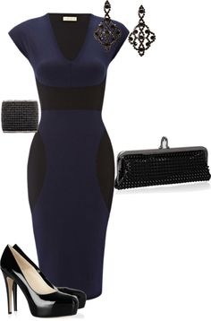 """""""Navy and Black Dress"""" by panther9294 on Polyvore"""