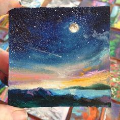 In the dark.but at peace. Simple Canvas Paintings, Small Canvas Art, Mini Canvas Art, Mini Paintings, Acrylic Art, Acrylic Painting Canvas, Sky Painting, Galaxy Art, Dark Galaxy