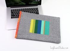 Quilted laptop sleeve by Leigh Laurel Studios