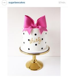 Thirty Birthday Cake - Kate Spade inspired bow and polka dot cake. I want one of these for my birthday. Dot Cakes, Fondant Cakes, Cupcake Cakes, Pretty Cakes, Beautiful Cakes, Amazing Cakes, Petit Cake, Decoration Patisserie, Bolo Cake