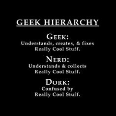 See theres a difference!!! I am a GEEK not a nerd!!