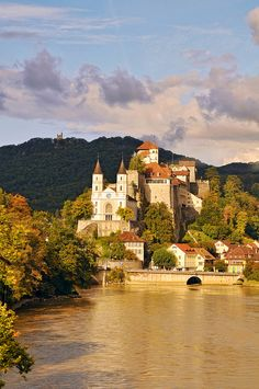 The Aarburg Castle and Church above the Aare River in Aargau, Switzerland
