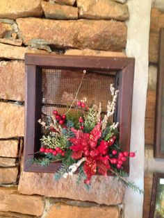 Christmas door or wall arrangement out of old mill sifter