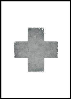 Trendig poster / affisch med kors i grå struktur.