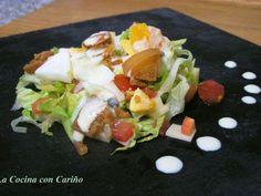 Entrante Ensalada con salsa de mostaza y pimienta verde para Molinillo