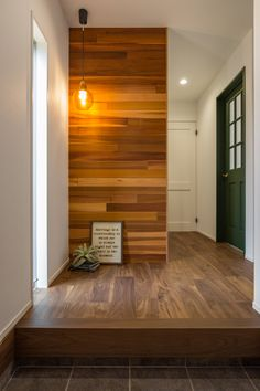 Wood Panel Walls, Wood Paneling, Modern Minimalist House, My House Plans, Wall Patterns, Building Design, Entrance, Living Room Decor, House Design