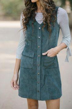 9c1ba306d2e Shop the Anita Green Corduroy Button Dress - boutique clothing featuring  fresh