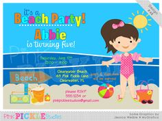 Beach Girl Personalized Party Invitation-personalized invitation, photo card, photo invitation, digital, party invitation, birthday, shower, announcement, printable, print, diy,