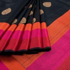 Black Handwoven Banarasi Tussar Silk Sari with Multi Colour Striped Border Indian Silk Sarees, Pure Silk Sarees, Cotton Saree, Banarasi Sarees, Indian Look, Indian Ethnic Wear, Indian Style, Indian Dresses, Indian Outfits