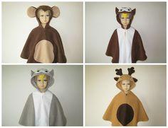 karneval fasching halloween kostüm cape umhang fleece affe eule elch
