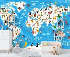 (1) 3D Blue Cartoon World Map Wall Mural Wallpaper 40 – Jessartdecoration 3d Wallpaper Cartoon, Map Wallpaper, Wallpaper Ideas, Kids World Map, World Map Wall, Wall Murals, North America, Life Hacks, Blue
