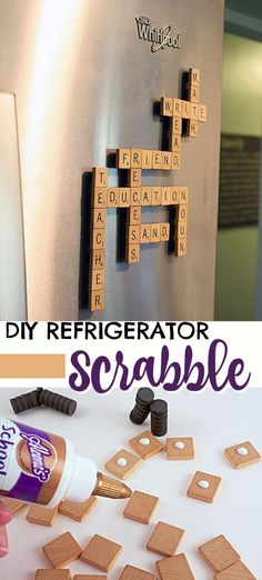 We love playing Scrabble, but with everyone's busy schedules we haven't play. We love playing Scrabble, but with everyone's busy schedules we haven't played board games in a while. Make your very own Refrigerator Scrabble Game! Crafts For Teens To Make, Crafts To Sell, Easy Crafts, Diy And Crafts, Jouer Au Scrabble, Diy Game, Vintage Jewelry Crafts, Diy Jewelry, Video Game Rooms