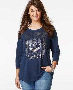 Lucky Brand Jeans Plus Size Graphic Three-Quarter-Sleeve Top - Tops - Plus Sizes - Macy's