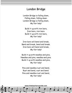 london bridge is falling down lyrics printout Preschool Poems, Kindergarten Songs, Kids Poems, Children Songs, Baby Lyrics, Great Song Lyrics, Baby Songs, Songs For Toddlers, Rhymes For Kids