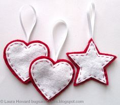 Free tutorial for sewing easy felt ornaments --- Bugs and Fishes by Lupin: Felt Ornament How-To #1: Stars and Hearts