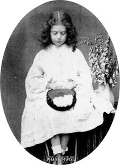 still-she-haunts-me-phantomwise: Edith Liddell (July by Charles Dodgson a. Lewis Carroll Courtesy of Lewis Carroll, Photographer Alice In Wonderland Decorations, Alice In Wonderland Illustrations, Go Ask Alice, Alice Liddell, John Tenniel, Lewis Carroll, Through The Looking Glass, Portrait, Art Dolls