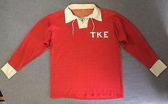 RARE Vtg Rugby 60's Polo Jersey Longsleeve TKE Frat Shirt Nylon Men's L