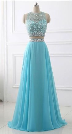 Prom dresses sleeveless - Blue Two Piece Chiffon Beaded Sparkle Long Prom Dress,Two Piece Round Neck Sleeveless Junior Party Dress,Formal Gowns – Prom dresses sleeveless Prom Dresses Two Piece, Pretty Prom Dresses, Prom Dresses For Teens, Prom Dresses Blue, Dance Dresses, Ball Dresses, Evening Dresses, Chiffon Prom Dresses, Two Piece Gown
