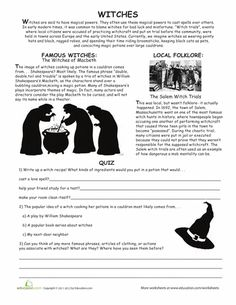 Worksheets: All About Witches