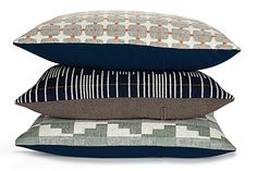 Eleanor Pritchard's patterns match those of the pillows (625 Line, Signal, and Northerly).  Photo by Christoffer Rudquist.