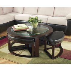Signature Design by Ashley Marion Glass Round Cocktail Table w/ 4 Backless Stools - Wayside Furniture - Cocktail or Coffee Table