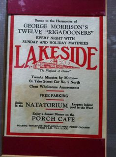 A Lakeside program from the summer of 1930.