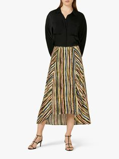 Buy Finery Mika Skirt, Multi, 8 from our Women's Skirts range at John Lewis & Partners. Free Delivery on orders over Striped Maxi Skirts, Stripe Skirt, Color Stripes, Sophisticated Style, Down Hairstyles, The Help, Night Out, Latest Trends, Midi Skirt