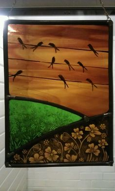 Leaded glass panel with painted detail. (With acknowledgement to Annie Rea).