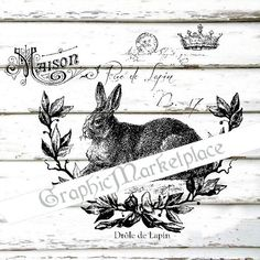Le Lapin Rabbit French Hare Instant Download Shabby Transfer Burlap digital collage sheet graphic printable No. 1875