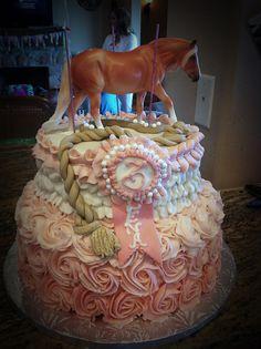 Roses & Ruffles Horse Cake : Shabby Chic Cowgirls & Horses Party (vintage pony party) #shabbychic #horses