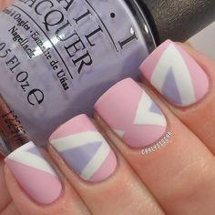Nail art. Pink, purple and white nails. Nail design. Matte. Romantic. Instagram photo by @Carly Sisoka