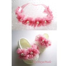 Pink Wave Beaded Crochet Baby Booties and Headband by MyMayaMade, $36.00