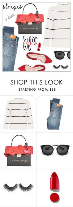 """""""Stripes!"""" by christinacastro830 ❤ liked on Polyvore featuring L.K.Bennett, Citizens of Humanity, Kate Spade, Prada and Rodin"""