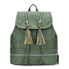 Yoins Textured Leather-look Backpack (1,610 DOP) ❤ liked on Polyvore featuring bags, backpacks, green, handbags, drawstring backpack bags, rucksack bag, knapsack bags, green backpack and tassel bag