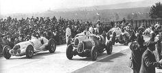GP MASARYK (BRNO) 1937 - ALFA Romeo 12C-36 #18 of Tazio Nuvolari , ALFA Romeo 12C-36 #20 of Antonio Brivio , Mercedes W125 #8 of Herman Lang