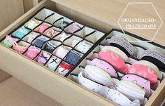 gaveta organizada com sutiãs e calcinhas