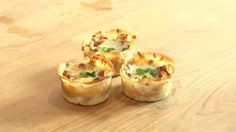 3 Mini-Lasagnen in Muffin-Form