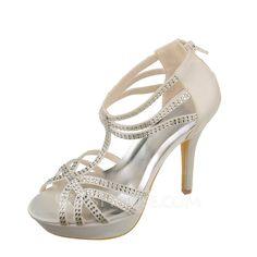 Women's Satin Stiletto Heel Peep Toe Sandals With Rhinestone (047086401)